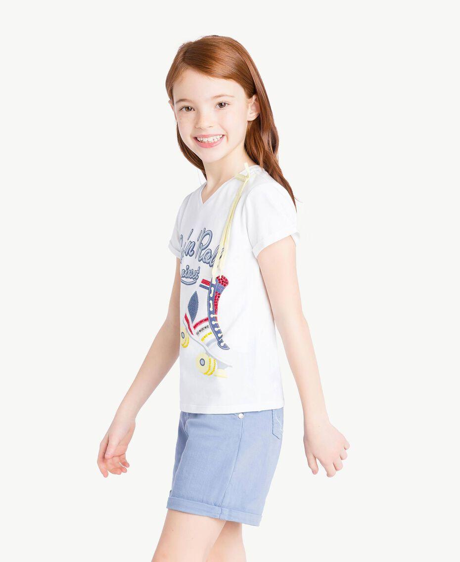 """T-shirt imprimé Blanc """"Papers"""" Enfant GS82A1-03"""