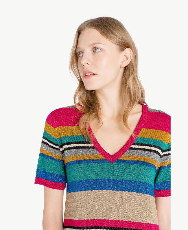 Kleid mit Lurex Multicolor-Lurexstreifen Frau TS833P-04