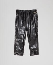Faux leather leggings with rhinestones Black Child 192GB2010-01