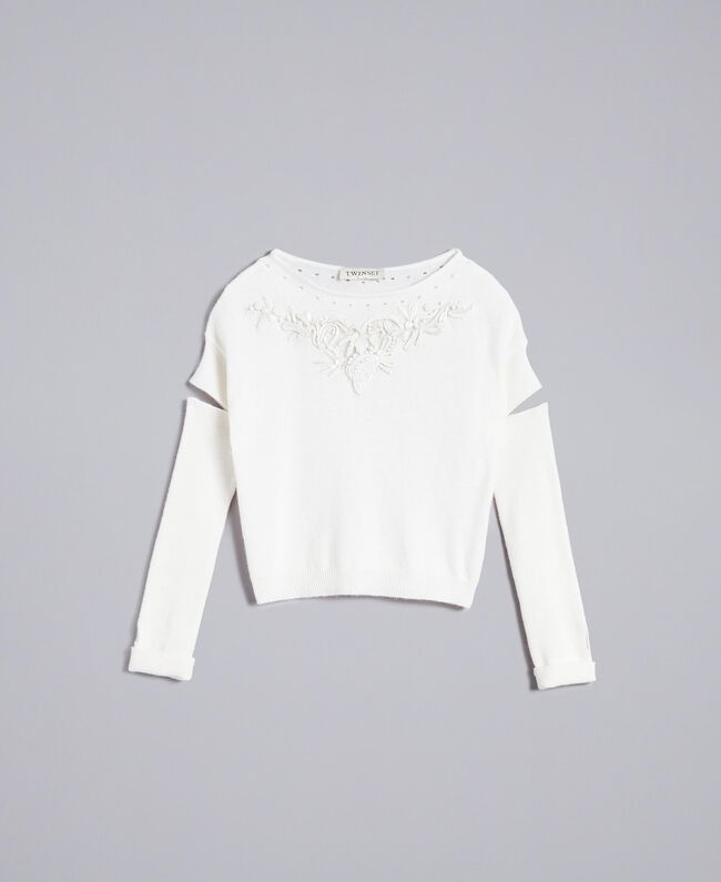 Cashmere blend jumper with embroideries Off White Child GA83CB-01