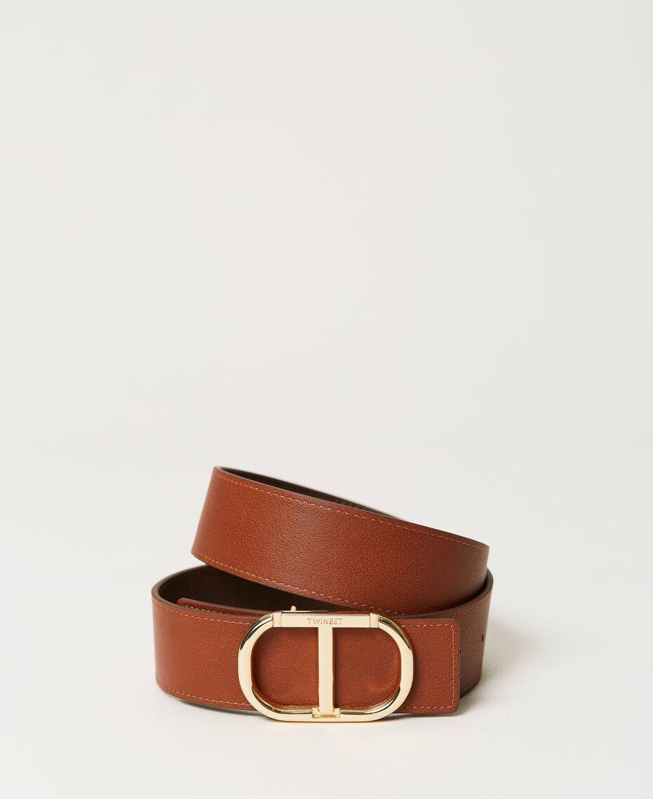Cinturón de piel con hebilla logotipo Bicolor Marrón «Cuero» / «Marrón Oscuro» Mujer 211TO5063-03
