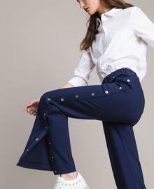 Drainpipe trousers with side slits and buttons Indigo Woman 191MP2155-05