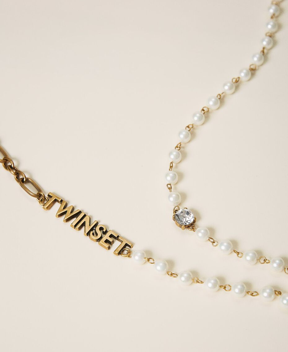 Long chain with pearls and logo Parchment White Woman 202TO5048-02