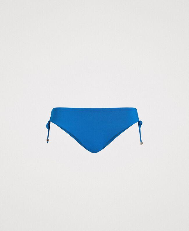 Bas de bikini uni avec cordon coulissant Bleu Antigua Femme 191LMMG99-01