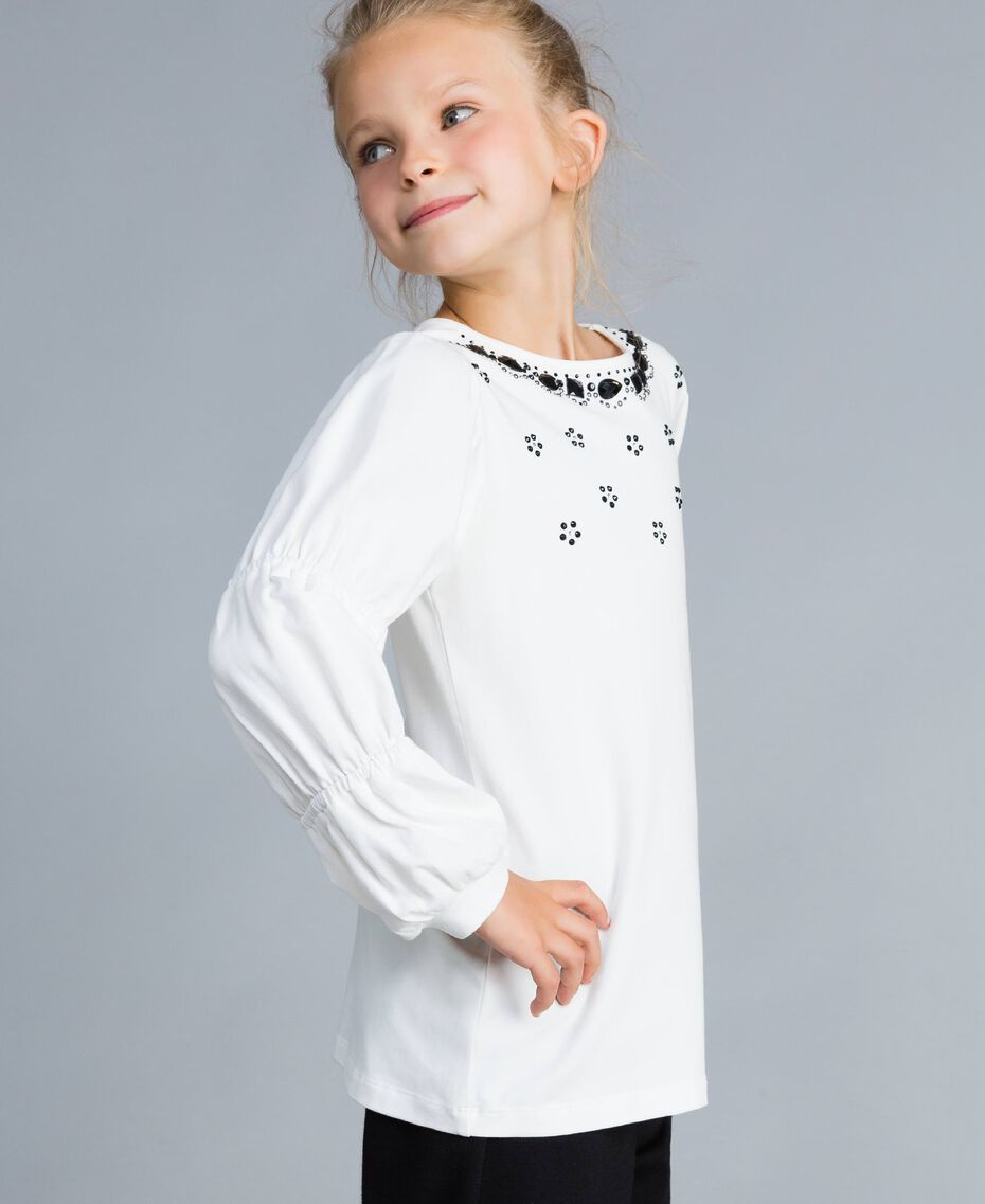 Maxi t-shirt with rhinestones and stones Off White Child GA821N-02