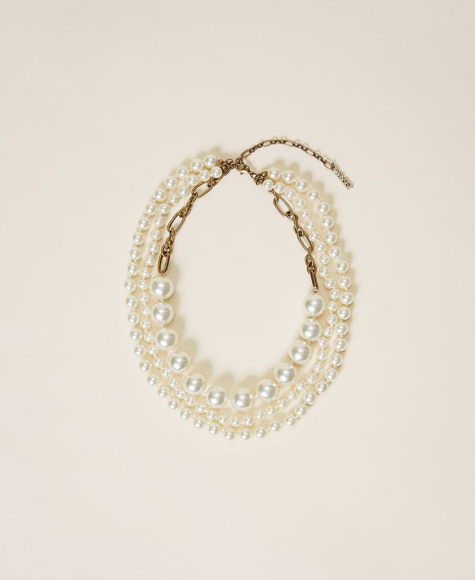 Choker with pearls Parchment White Woman 202TO5049-02