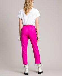 """Georgette-Hose Zweifarbig """"Electric Pink"""" / Seidenweiß Frau 191TP2328-04"""