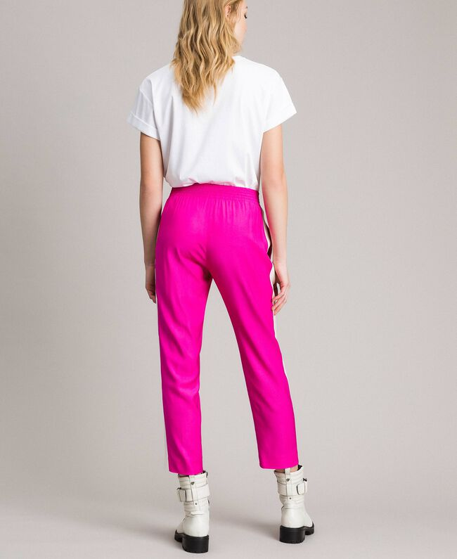 """Georgette trousers Two-tone """"Electric Pink"""" / Silk White Woman 191TP2328-04"""