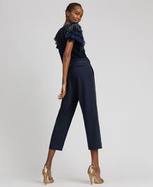 Cigarette trousers in technical wool Midnight Blue Woman 192TT2458-03