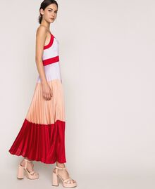 "Pleated satin long slip dress Multicolour ""Lava"" Red / ""Ballerina"" Purple / Nude Pink Woman 201TP2310-02"