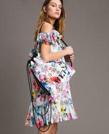 Rucksack mit Blumenmuster Fluoreszierendes Rosa Frau 191MO8061-0T
