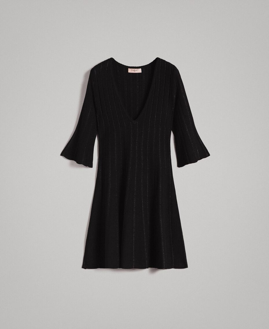 Knit dress with lurex stripes Black Woman 191TP3250-0S