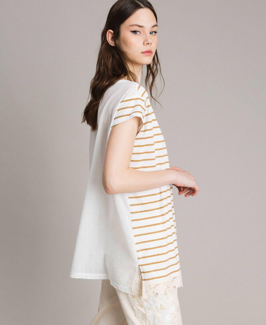 "Striped maxi t-shirt ""Savannah"" Beige / Off White Striped Print Woman 191ST2091-02"