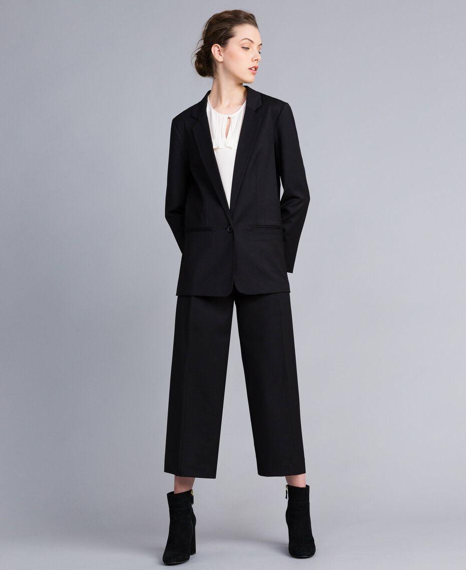 Jacke aus Cool Wool Schwarz Frau PA823R-0T