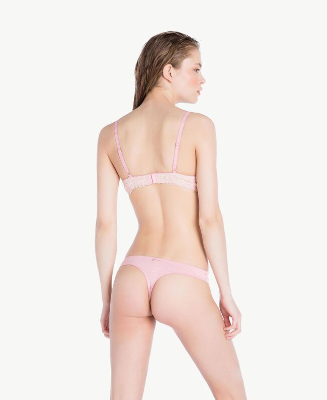 "Lace thong Two-tone Pinkie Sugar / ""Peach Powder"" Pink Woman LS8A88-04"