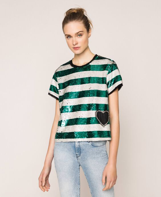 Full sequin striped blouse