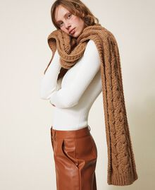Knit scarf with logo Brown Sugar Woman 202ST4711-0S