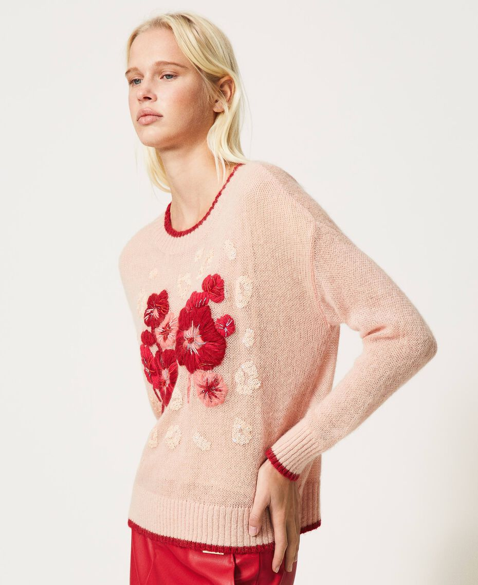 Mohair blend jumper with floral embroidery Peach Woman 202TP3430-02