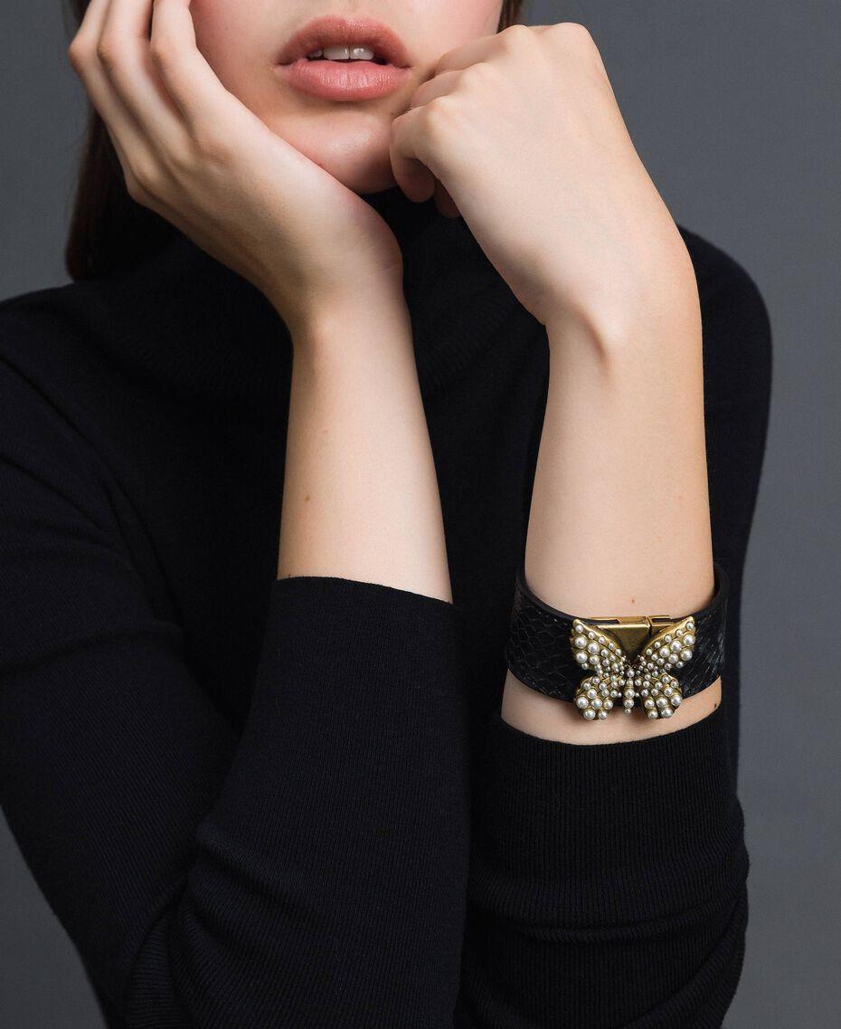 Bracelet en cuir avec papillon Imprimé Python Gris «Anthracite» Femme 192TO5303-0S