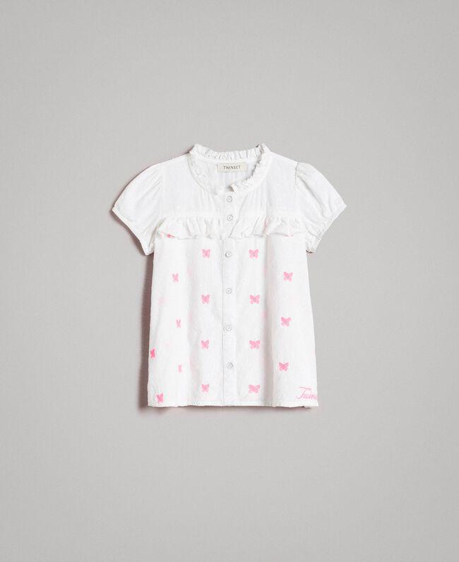 Plumetis shirt with butterflies Optical White / Neon Fuchsia Embroidery Child 191GJ2371-01