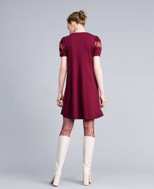 Wool blend dress with lace inlays Bordeaux Woman PA83AA-03