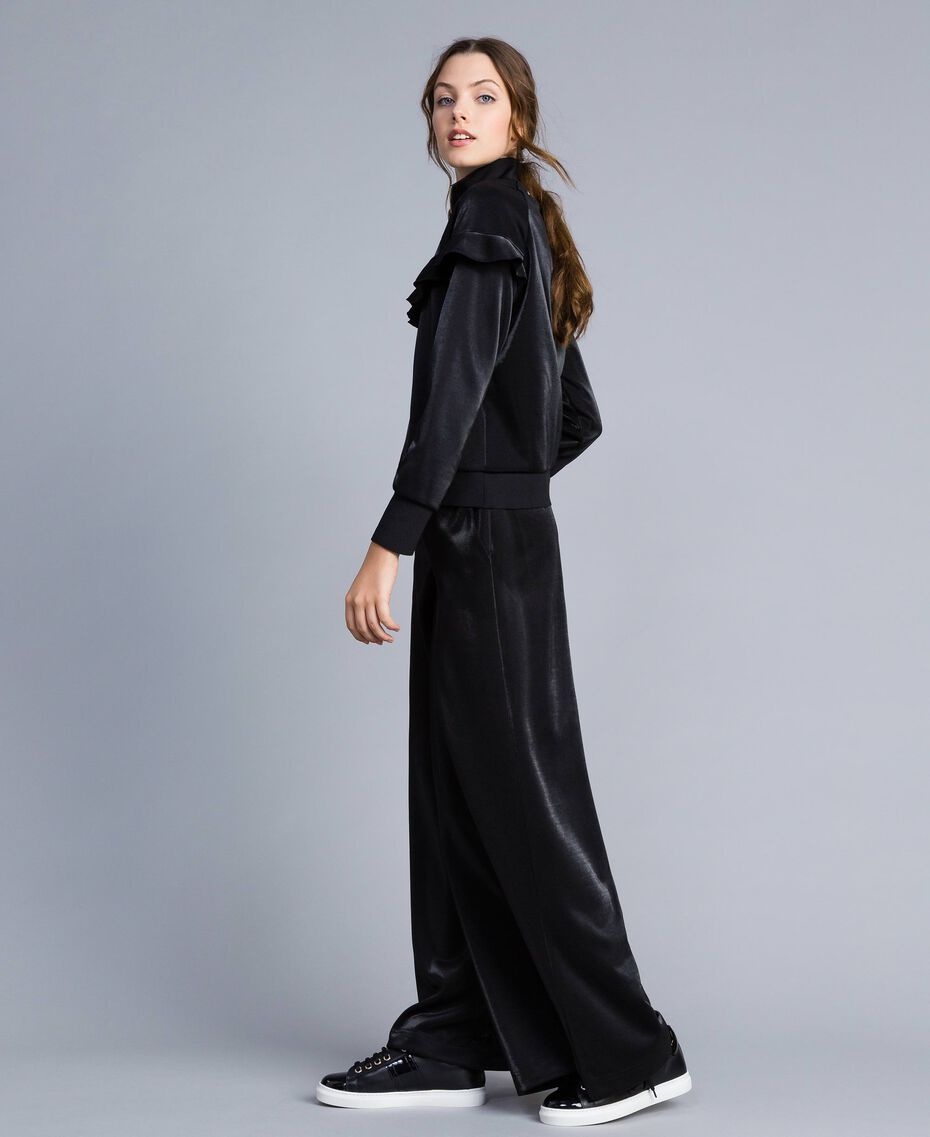 Pantaloni palazzo in tessuto tecnico Nero Donna IA85CC-02