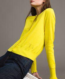 Cashmere blend mandarin collar top Yellow Woman 191TP306A-04