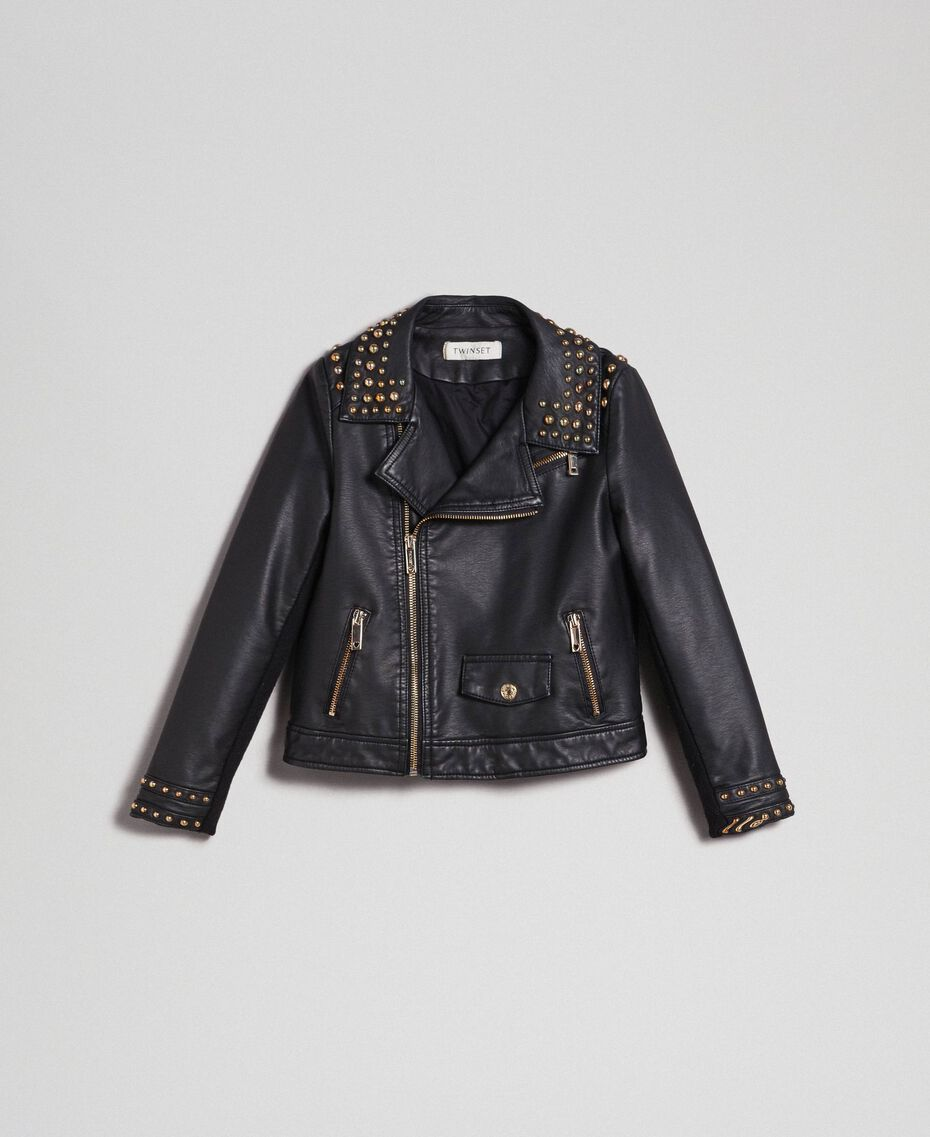 Faux leather biker jacket with studs Black Child 192GJ2020-0S