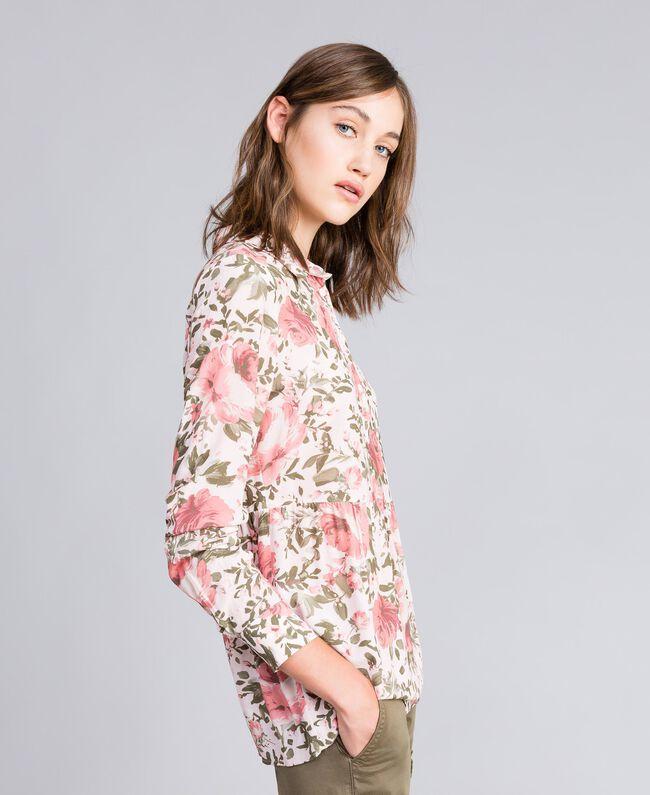Rose print viscose blouse Cloud Rose Pink Rose Print Woman JA82PN-03