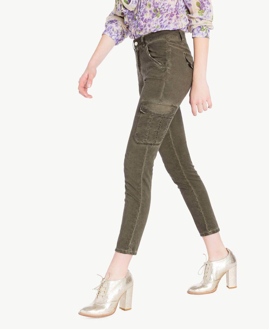 Pantalone cargo slim Verde Militare Donna PS82K4-02