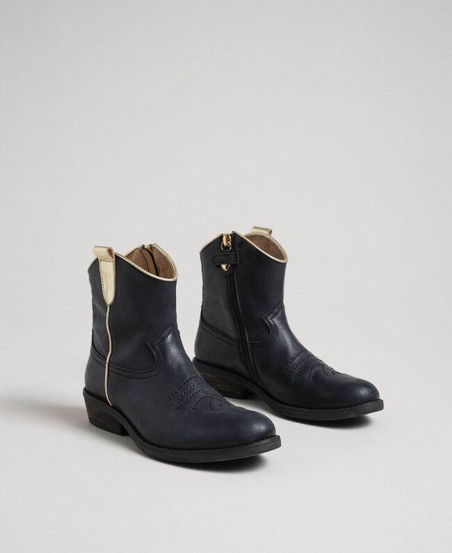 Bottines style santiags en cuir Noir Enfant 192GCJ02A-01