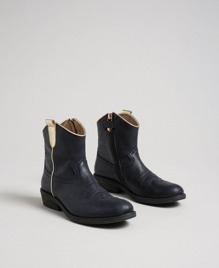 Cowboystiefelette aus Leder Schwarz Kind 192GCJ02A-01