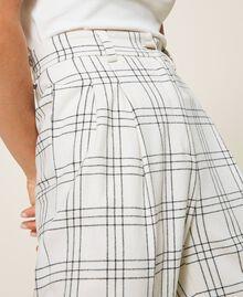 """Wool blend wide leg trousers Two-tone """"Snow"""" White / Black Woman 202TP254D-05"""