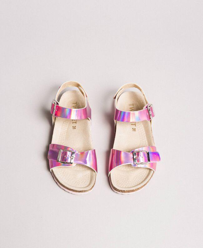 "Beschichtete Leder-Sandalen ""Crystal Pink"" Kind 191GCJ162-04"