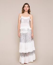Pleated top with two-tone lace White Snow Woman 201TT2140-0T