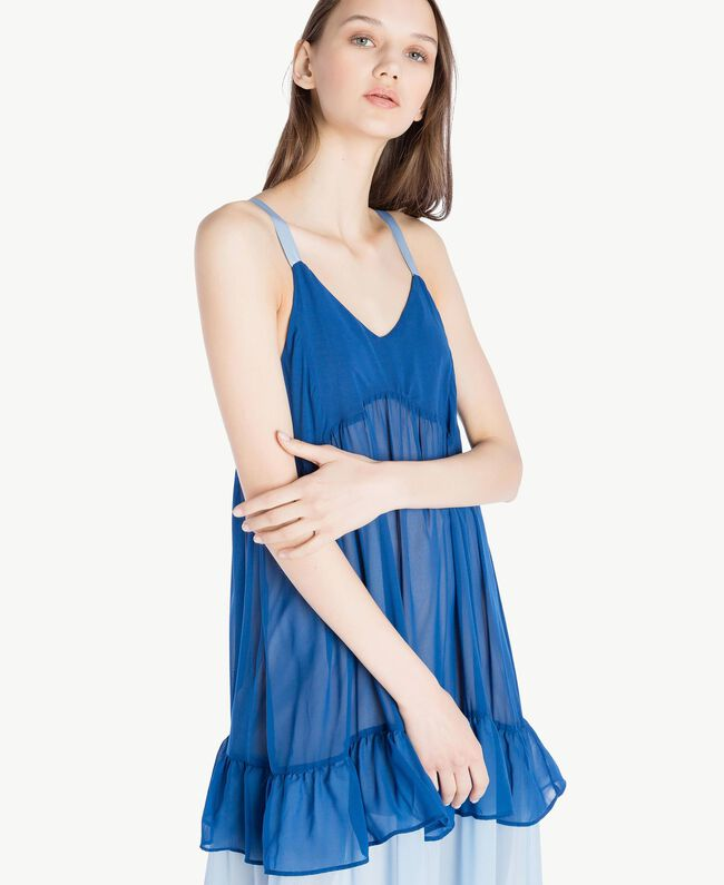 "Langes Kleid mit Volants Multicolor ""Navy Peony"" Frau SS82DD-04"