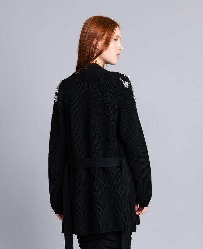 Wool-blend embroidered maxi cardigan Black Woman QA8TJP-04