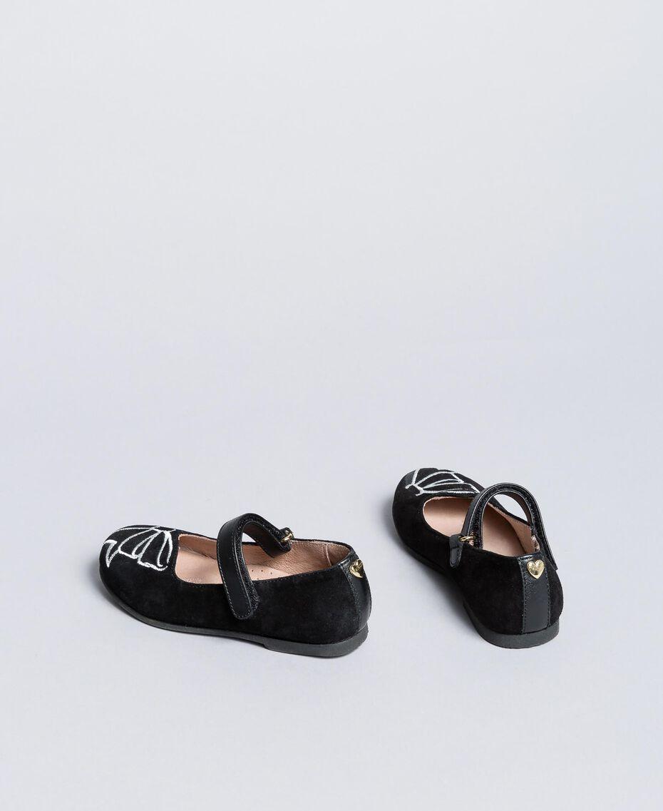 Ballerines en cuir velours avec strass Noir Enfant HA86AN-03