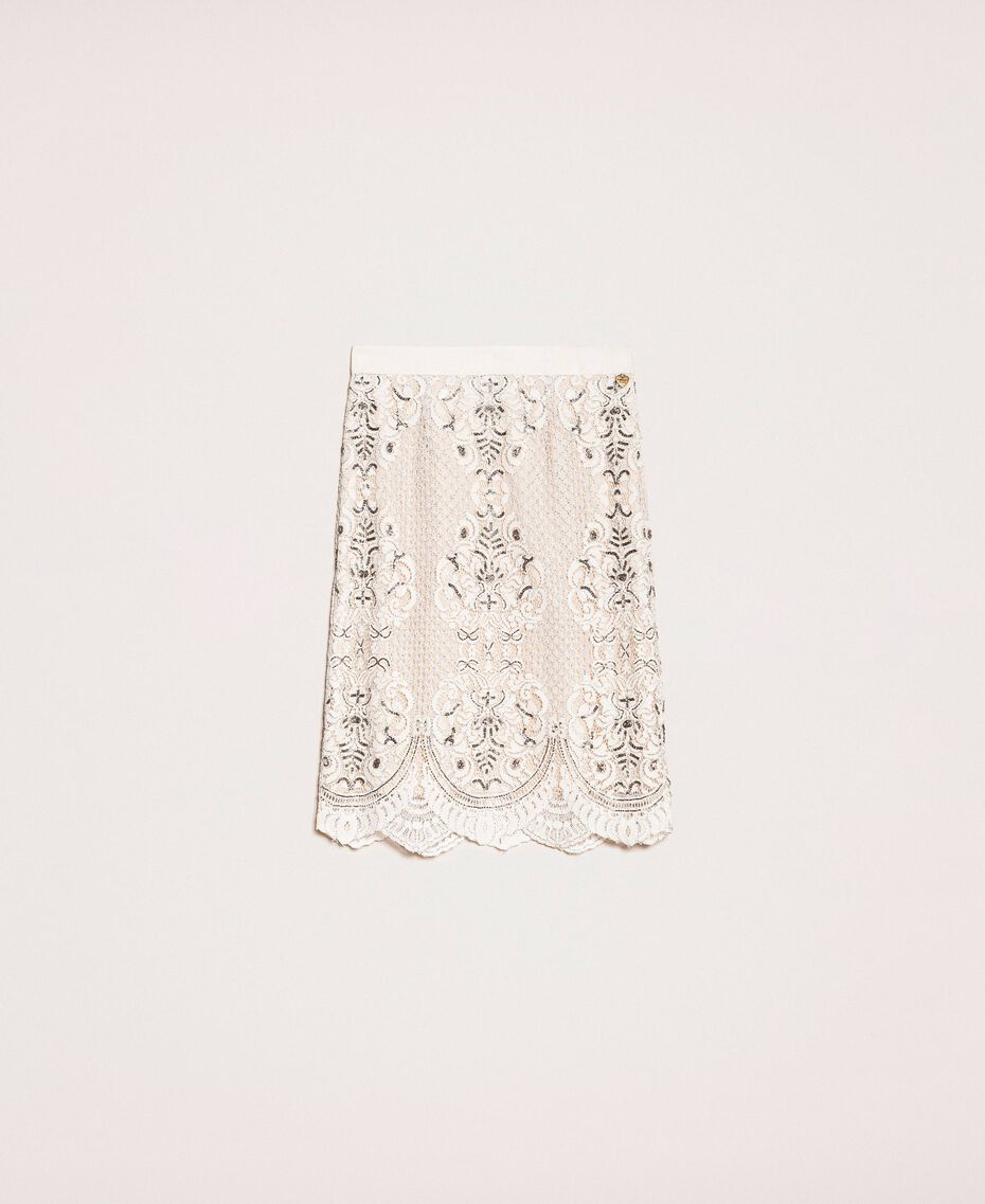 Lace skirt with embroidery Ivory Woman 201TP2464-0S