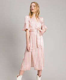 Striped satin wrap dress Pearl Pink Striping Woman 191TP2459-04