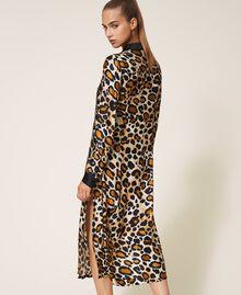 Shirt dress made of animal print satin Animal Print Woman 202LL2EGG-04