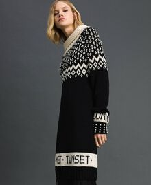 "Jacquard knit dress with logo and pearls Black / Dark ""Papyrus"" White Jacquard Woman 192TP332D-02"