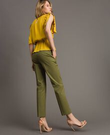 "Poplin drainpipe trousers ""Olive"" Green Woman 191TT2231-03"