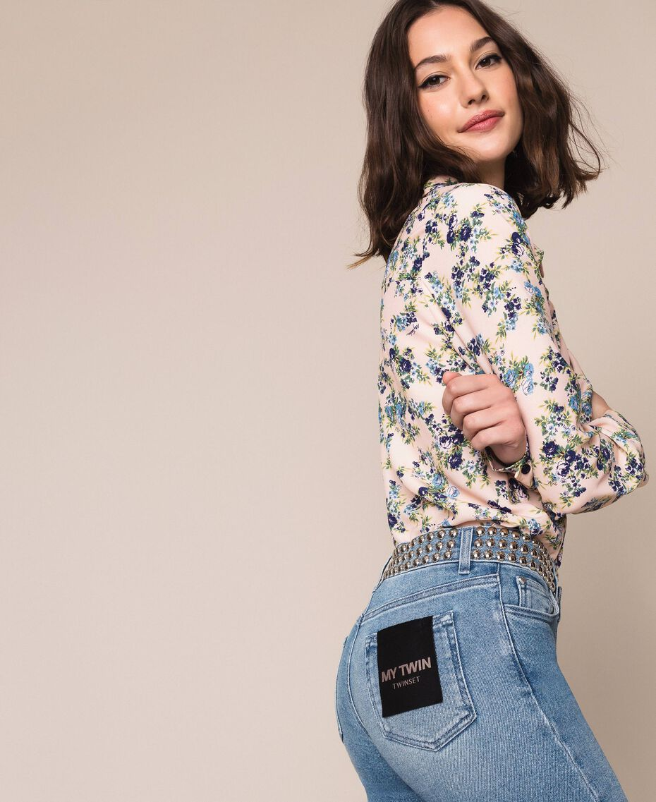 Flared jeans with studs Denim Blue Woman 201MP226A-01