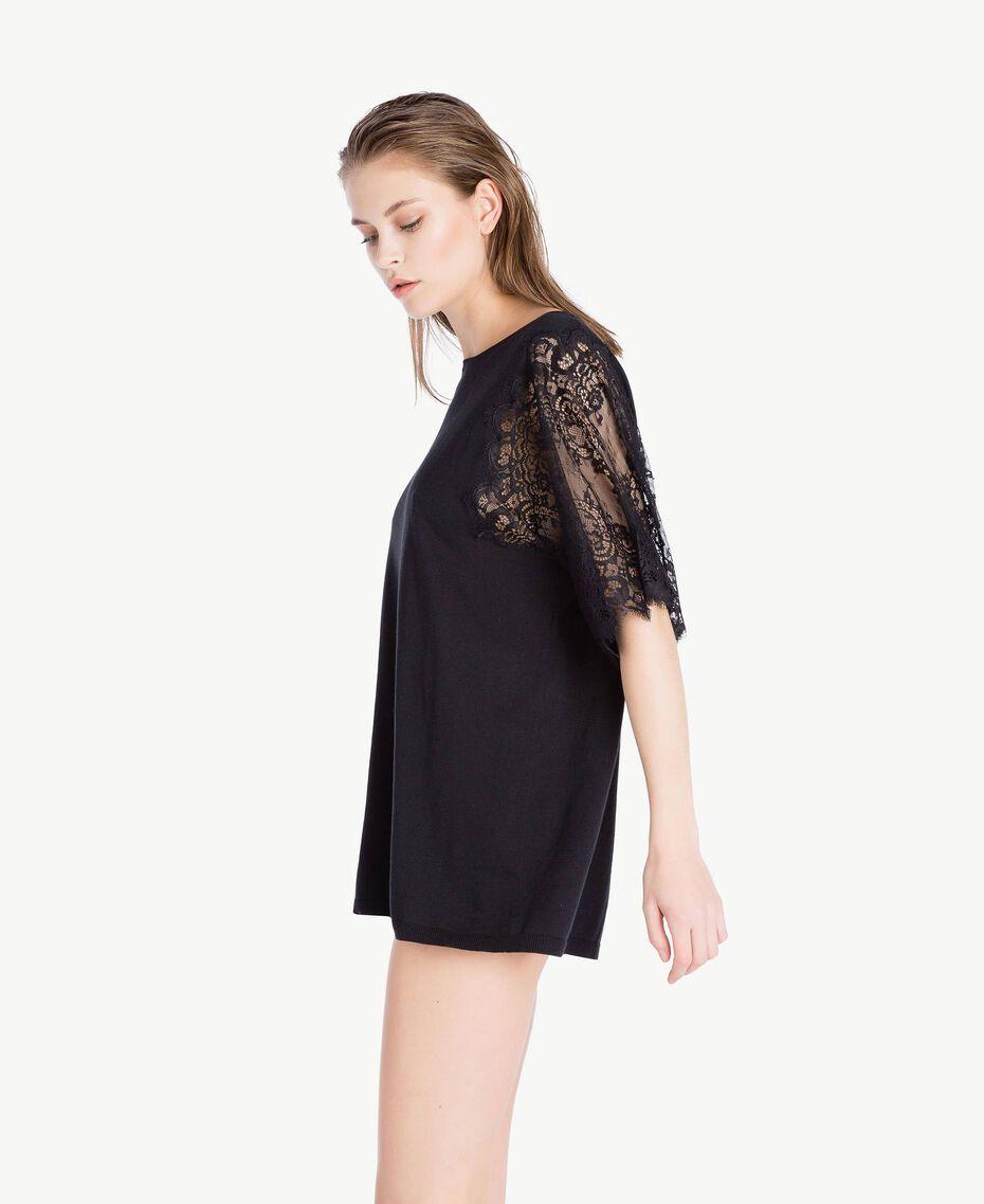 Maxi maglia cotone Nero Donna LS8CCC-03