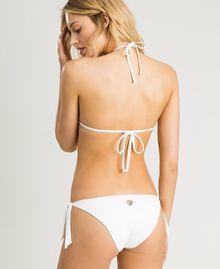 Triangle bikini top with embroideries and rhinestones Ivory Woman 191LMMR22-03