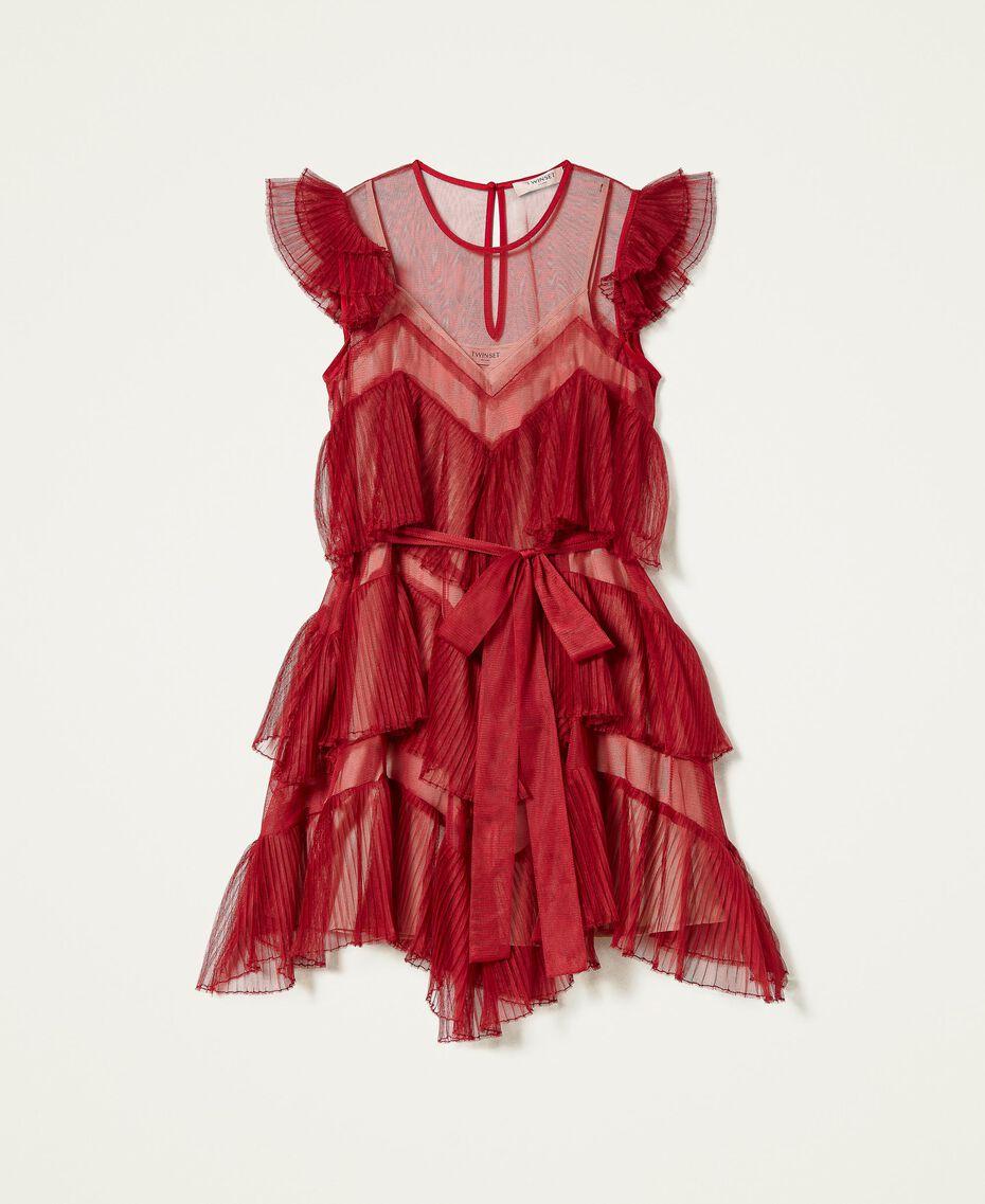 Pleated flounce short tulle dress Dark Raspberry Woman 212TP2201-0S