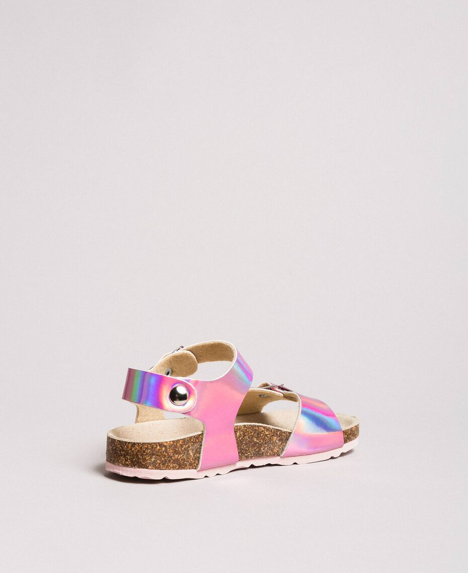 """Laminated leather sandals """"Crystal Pink"""" Child 191GCJ162-02"""
