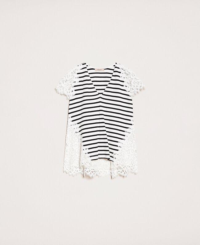 """Полосатая футболка с кружевом макраме Полоска Белый """"Снег"""" / Черный женщина 201TP2470-0S"""