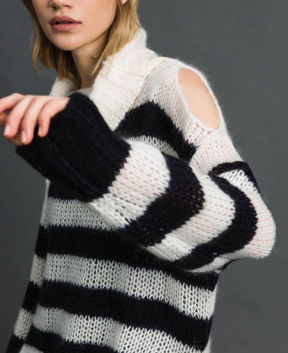 "Striped mohair dress with slip Black / ""Papyrus"" White Stripe Woman 192TP3270-02"